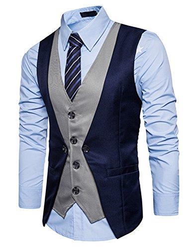 YCHENG Uomo 4 Button Falso due Pezzi Abito Sposa Classico Gilet Abbigliamento Casual Fumante Sottile Suit Vest Blu