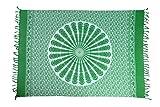 Ciffre Sarong Pareo Wickelrock Strandtuch Tuch Schal Wickelkleid Strandkleid Blickdicht Delhi - Grün