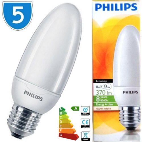 5 x Philips Energiesparlampe, E27, warmweiß, 2700 k, 8w = 35° W ES E27, CFL, Spirale, verkapselter Leuchtmittel Lampe -
