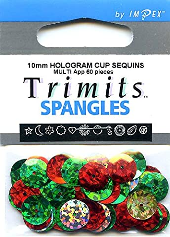 Impex Hologram Cup Sequins - Assorted Colours, 10mm, pk of approx 60