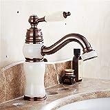 Daadi Küche bad waschbecken wasserhahn ORB Handwerk braune Patina retro Jade Messing ein Loch Keramik Ventil warmes und kaltes Wasser, Badezimmer Waschbecken wasserhahn Griff