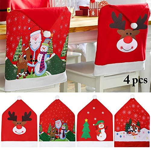 JUSTDOLIFE Cubierta de la Silla de Navidad, Rojo Fundas para sillas de Navidad Juego de 4 Gorro de Papá Noel...