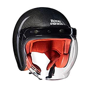 Royal Enfield Gloss Black Open Face with Visor Helmet Size (XL)62 CM (RRGHEI000117)