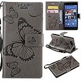 Hozor Sony Xperia Z3 Compact Handyhülle, Retro Großer Schmetterling Muster PU Kunstleder Ledercase Brieftasche Kartenfächer Schutzhülle mit Standfunktion Magnetverschluss Flip Cover Tasche, Grau