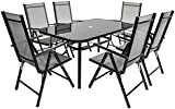 Charles Bentley 6 Seater Rectangular Textilene Dining Furniture Set 6 Chairs Table Outdoor Garden Patio - Black