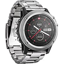 Malloom Banda de Metal reloj de acero inoxidable Correa para Garmin Fenix 3 / HR 2016 (plata)