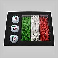 Golf Geschenkset - bedruckte Golfbaelle & Golftees in Länderfarben (Italia)