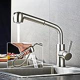 BONADE Wasserhahn Bad Armatur mit ausziehbarem Brause 360° Schwenkbar Einhebelmischer Küche Spültischarmatur Küchenarmatur Ausziehbar Dual-Spülbrause Spülenarmatur Edelstahl
