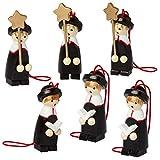 BRUBAKR Statuine natalizie, raffiguranti i Re Magi, realizzate in legno di alta qualità e dipinte a mano - ideate per essere appese all'albero di natale - decorazione natalizia da sei pezzi