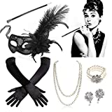 SPECOOL 1920s Accessori Flapper Anni '20 Set Costumi Gatsby con Flapper Orecchini Collana Guanti Maschera Perle Collana Bracciale Portasigarette Estensibile Festa Ballo Halloween