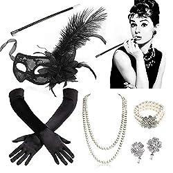 SPECOOL 20er Jahre Accessoires 1920s Kostüm Damen Flapper Accessoires Set 20er Halloween Kostümzubehör Kleid Große Gatsby Zubehör Retro Maskerade Maske Perlenkette Ohrringe Armband Handschuhe