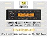 12 Volt Bluetooth PKW Auto Radio, RDS-Tuner, MP3, WMA, USB, 12V TR7412UB-OR
