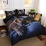 Anself Europe and America 3D Bedding Set Home Soft Cat Printing Duvet Cover Set