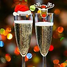 Kompanion 20 Tarjetas de Decoración Para Vaso Copas de Vino de Navidad – Accesorio Ideal para
