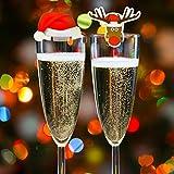20 Tarjetas de Decoración Para Vaso Copas de Vino de Navidad – Accesorio Ideal para Cena de Celebración Navideña – Articulo Decorativo 10 de Gorro de Santa y 10 de Reno