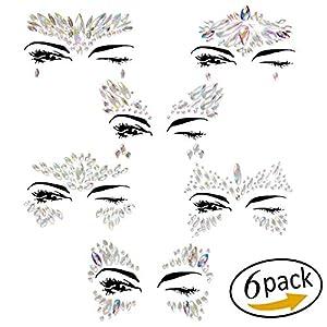 Face Gems,vita 6 pcs Mermaid Jewels Crystal Body Festival Glitter Temporary Tattoos Rhinestone for women and kids