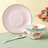 Floris Teetasse Kaffeetasse aus hochwertigem Porzellan - Fine Bone China - Pink/Türkis - Vintage - Landhausstil