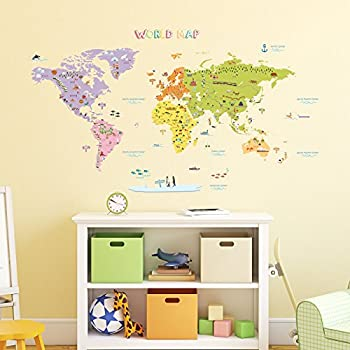 World map wall sticker wall art graphics amazon kitchen decowall dmt 1306n colourful world map kids wall stickers wall decals peel and stick removable wall stickers for kids nursery bedroom living room large gumiabroncs Image collections