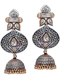 Trijya Exports Designer Traditioal Silver Dual Tone Oxidised Plating Jhumka Earring With White Stone For Women...