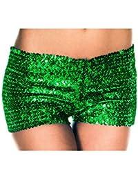 Vovotrade Hot Sale Shorts à Deux Bretelles Femmes Shorts à Sequins Réversibles à la Sirène (Size:S, Vert)