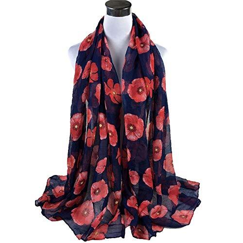 TDPYT Frauen Chiffon Schal Damen Roter Mohn Printlong Wrap Weiche Schals Schal Weibliche Lange Wrap Schals Beachwear Schal-Navy -
