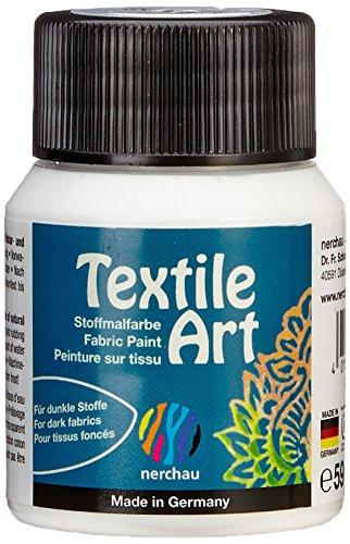 Nerchau 144102 - Textile Art Stoffmalfarbe für dunkle Stoffe, 59 ml, Weiß