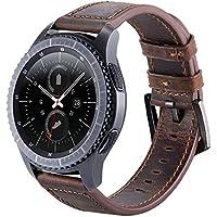 Gear S3 Armband, 22mm Uhrenarmband Echtes Lederband für Samsung Gear S3 Frontier/Classic SM-R760, Moto 360 2nd Gen Men's 46mm Etc