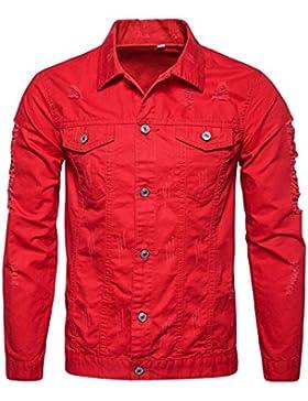Hombre Chaqueta Corta Primavera Ropa De Abrigo Slim Casual Con Botones Top Manga Larga Rojo XL