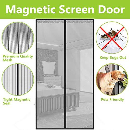 BWBW Fliegengitter Tür Grau, Insektenschutz Magnet Fliegen Gitter Vorhang Fliegenvorhang für Balkontür Wohnzimmer Klettband Fassung,36x86in/90x215CM - Wohnzimmer 36 Vorhänge