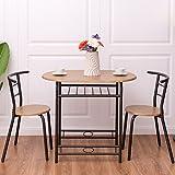 Costway 3tlg. Küchenbar Sitzgruppe Essgruppe Balkonset Küchentisch Bartisch Esstisch mit 2 Stühlen Farbwahl (Natur)