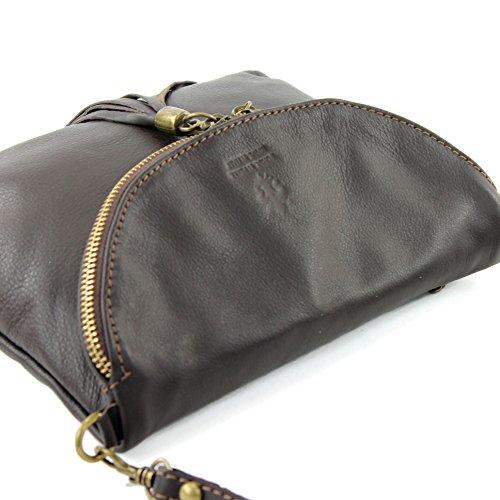 modamoda de - ital. Ledertasche Clutch Umhängetasche Unterarmtasche Klein Nappaleder T07 Dark Chocolate