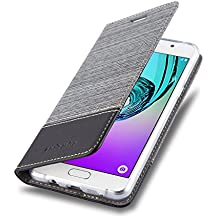 Cadorabo - Etui Housse pour Samsung Galaxy A3 (6) (Modèle 2016) - Coque Case Cover Bumper Portefeuille en Design Tissue-Similicuir avec Stand Horizontale, Fentes pour Cartes et Fermeture Magnétique Invisible en GRIS-NOIR