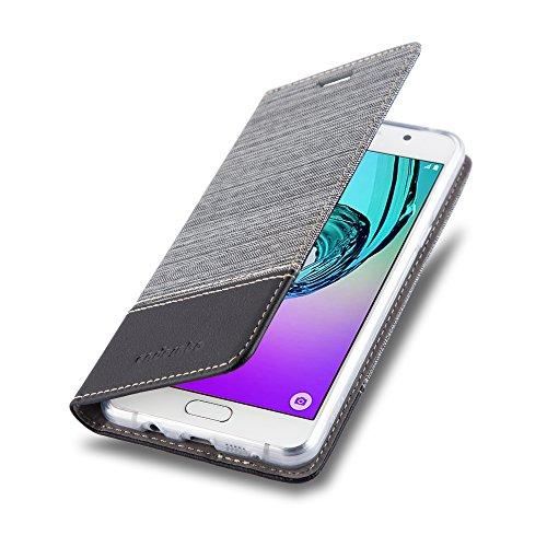 Preisvergleich Produktbild Cadorabo Hülle für Samsung Galaxy A3 2016 (6) - Hülle in GRAU SCHWARZ – Handyhülle mit Standfunktion und Kartenfach im Stoff Design - Case Cover Schutzhülle Etui Tasche Book
