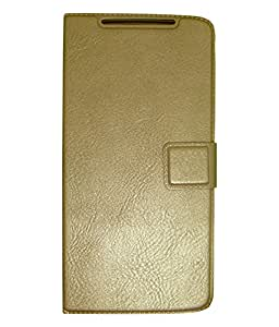 Zocardo Premium Faux Leather Flip case cover for Samsung Galaxy On8 - Gold - with Stand , Magnetic Lock