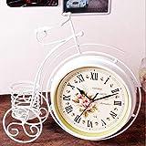 Axiba Kaminuhren Eisen Kunst Fahrrad Uhr Quarz Uhr doppelseitigen stumme heimische Wohnzimmer Tischuhren-Hausdekorationen