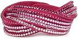styleBREAKER weiches Strass Armband, eleganter Armschmuck mit Strassteinen, Wickelarmband, 6x1-Reihig, Damen 05040005, Farbe:Pink / Pink-Rosa-Klar