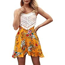 T.SEBAN Vestido corto de verano con estampado floral en el vestido de playa de