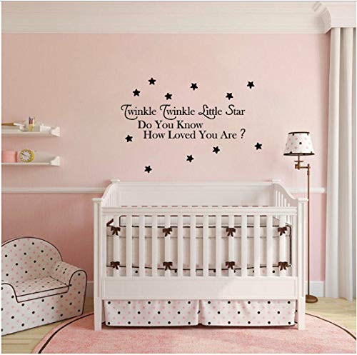 Wandaufkleber Schwarz Twinkle Twinkle Little Star PVC Baby Kinderreim Schlafzimmer Dekor 75 CM * 26,6 CM