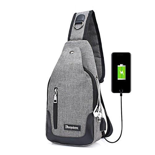 BULAGE Brusttaschen Rucksäcke Männer Taschen Leinwand Laden über USB Koreanische Beiläufige Männer Und Frauen Bequem Brust- Schulter- Messenger Grey