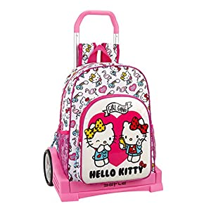 51YdLg7D7PL. SS300  - Hello Kitty Mochila con Carro Ruedas Evolution, Trolley, Rosa, 42 cm