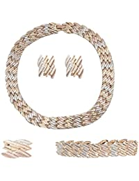 IGP Triple Tone Gold Copper Silver Plated Fashion Jewellery Set With Ring And Bracelet For Women And Girls