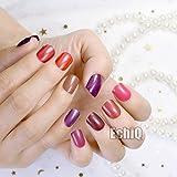 EchiQ Künstliche Nägel, kurz, vollständige Abdeckung, für künstliche Nägel, reine Süßigkeiten, Braun, Schimmernd, Lila, Rot, 240 Stück