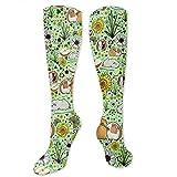 Gped Kniestrümpfe,Socken Guinea Pigs and Flowers Compression Socks,Knee High Socks,Funny Socks for Women Men - Best Medical,Sports,Running, Nurses,Maternity,Pregnancy,Travel & Flight Socks