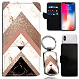 i-Tronixs CUBOT Echo Marble Sparkle Effect Wallet CASE (5) UNIVERSAL Phone Cover, Marble Fashion Case with Card Slots Marble Sparkle Effect [ Matching Keyring]