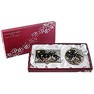 Mère de perle Pivoine & GRUE conception Loupe Double miroir compact de maquillage avec porte carte crédit Nom de Visite de Gravure Fine en acier inoxydable d'argent cas