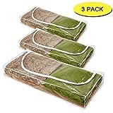 3 x Aufbewahrungsbox, Klar mit weißem Rand, L109xW46xH15cm aus Saison-Ideal für Aufbewahrung von Bettdecken, Bettzeug oder Kleidung