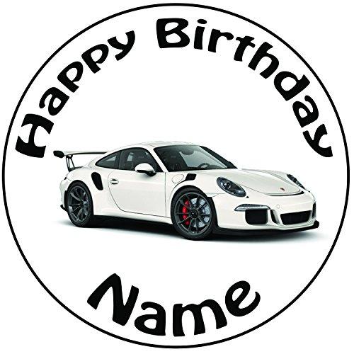 Personalisierter Porsche Zuckerguss Kuchen Topper / Kuchendekoration - 20 cm Großer Kreis - Jeder Name Und Jedes Alter