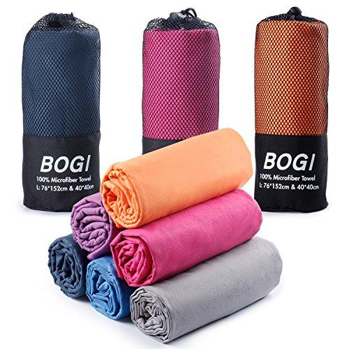 a33c0f2854 BOGI Microfibra Sport e Viaggi Towel- 76cmx152cm+40cmx40cm- Asciugatura  Rapida
