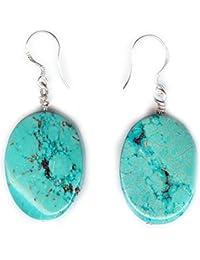 Boucles d'oreilles Turquoise sur crochets en Argent massif 925