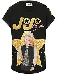 M&Co JoJo Siwa Character Girls Black 100% Cotton Short Sleeve Crew Neck Gold Holographic Star Print Top